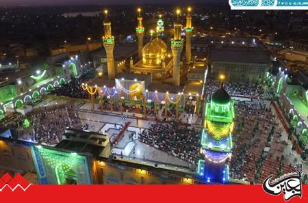 The gilded minarets of Imamain Kadhimain's Holy Shrine were unveiled