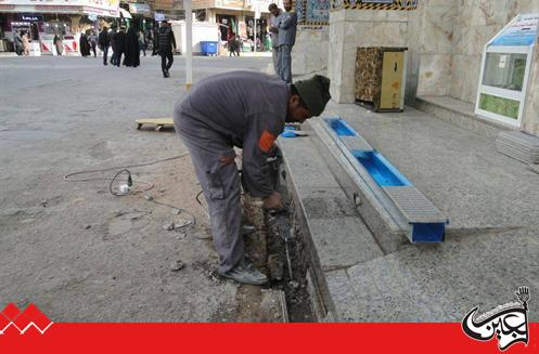 Engineering Maintenance Department began renewing and developing rain water drainage cannels at the outside Al-Abbas's (p) Holy Shrine.