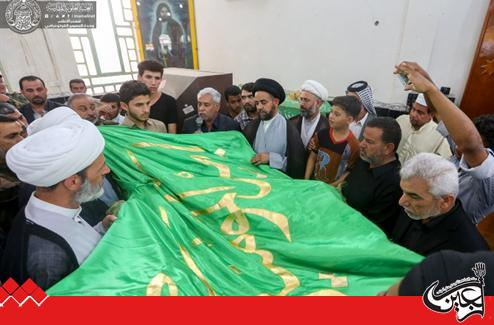 An official delegation from Imam Ali(AS) Holy Shrine attends the funeral of the Martyr of Imam Ali Combat Brigade, Hassan Naji al-Abidi.